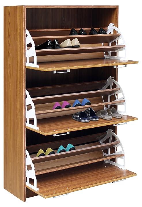 Amazon.com: 4D Concepts Deluxe Triple Shoe Cabinet, Oak: Kitchen ...