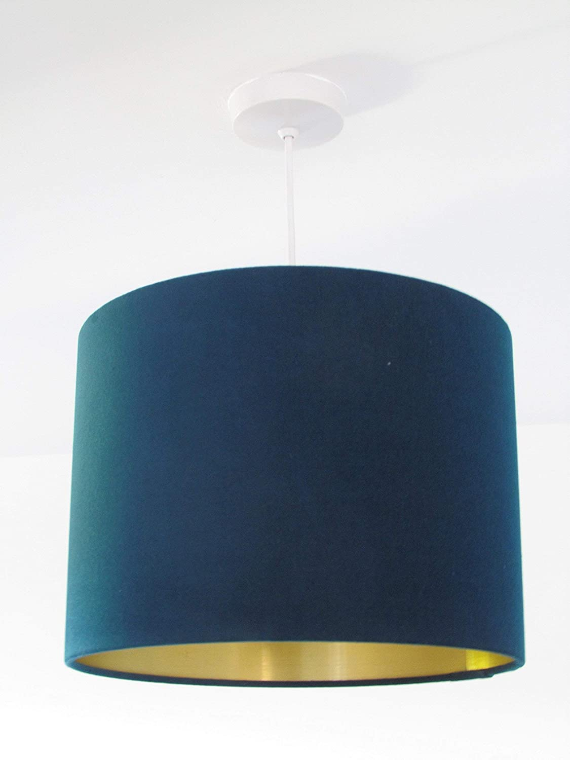 Handmade Teal Blue Velvet with Copper Silver Gold Metallic Lined Lampshade  Lightshade All Sizes