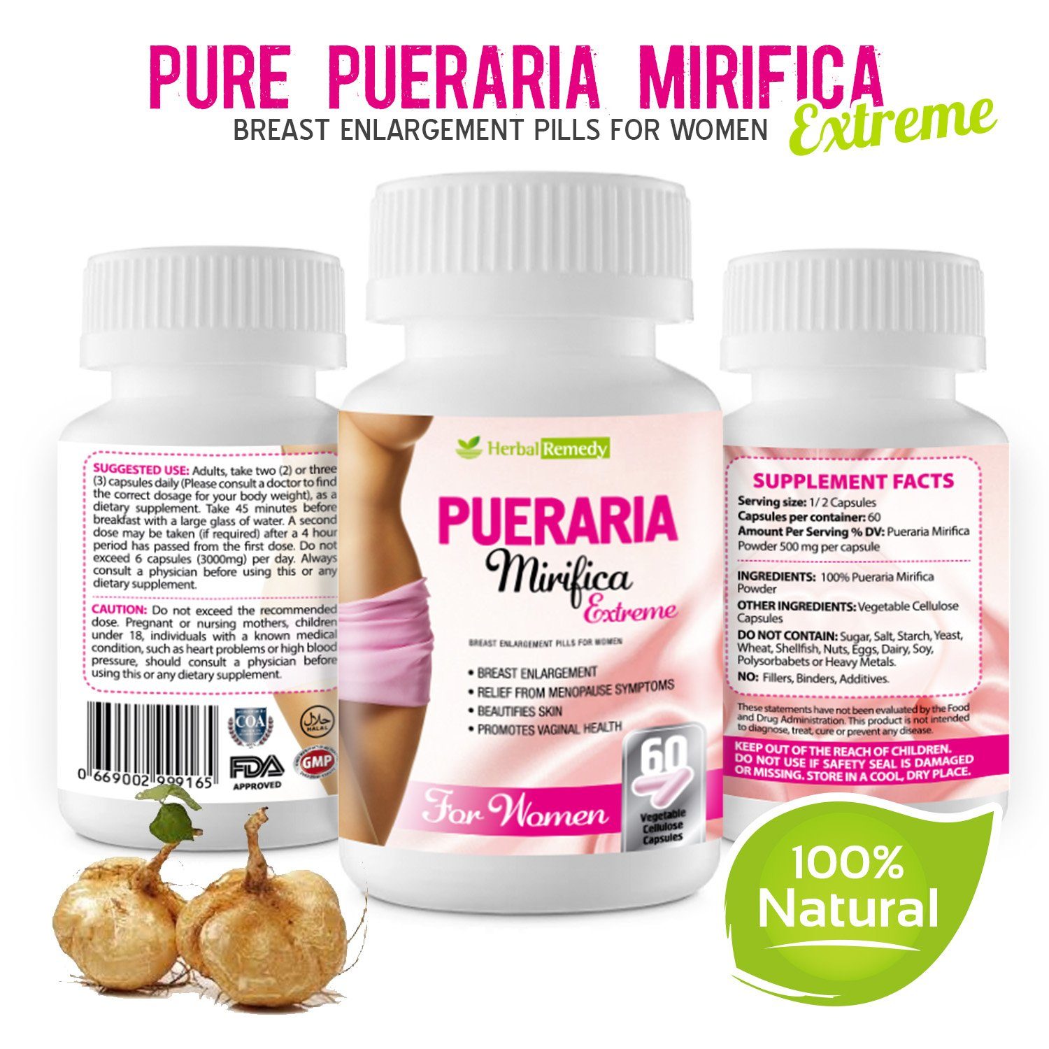 Pueraria Mirifica Breast Enhancement Pills – 100% Natural Herbal Vaginal Health Supplements for Menopause Relief, Increase Bust & Cups Size, Improve Hair, Skin & Nails Collagen 60 Veggie Pills