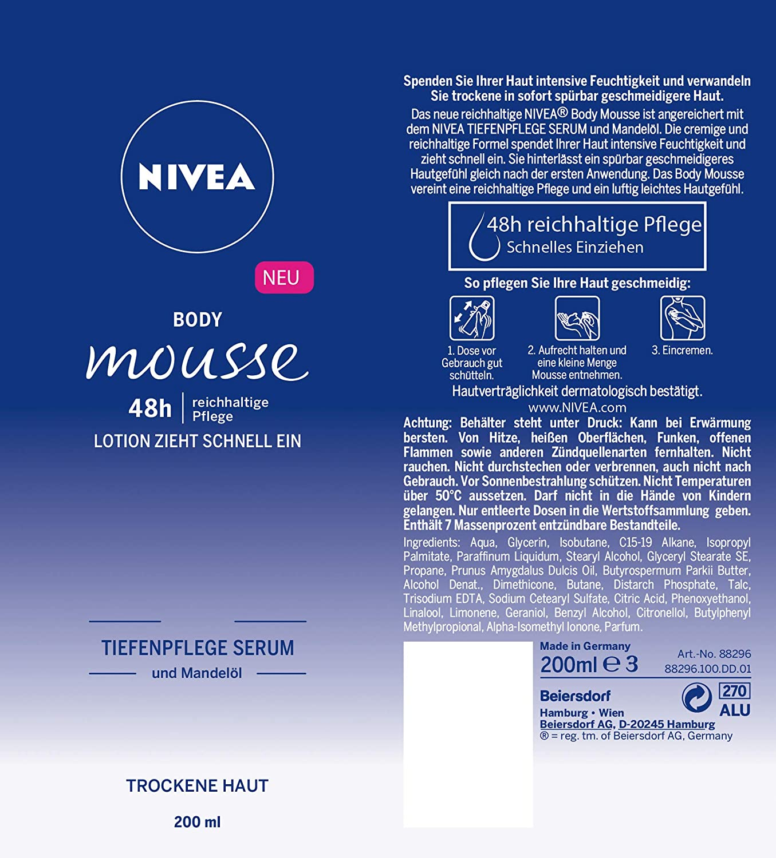 Nivea Cuerpo Mousse con mandelöl, para piel seca, dispensador, 3 Pack (3 x 100 ml): Amazon.es: Belleza