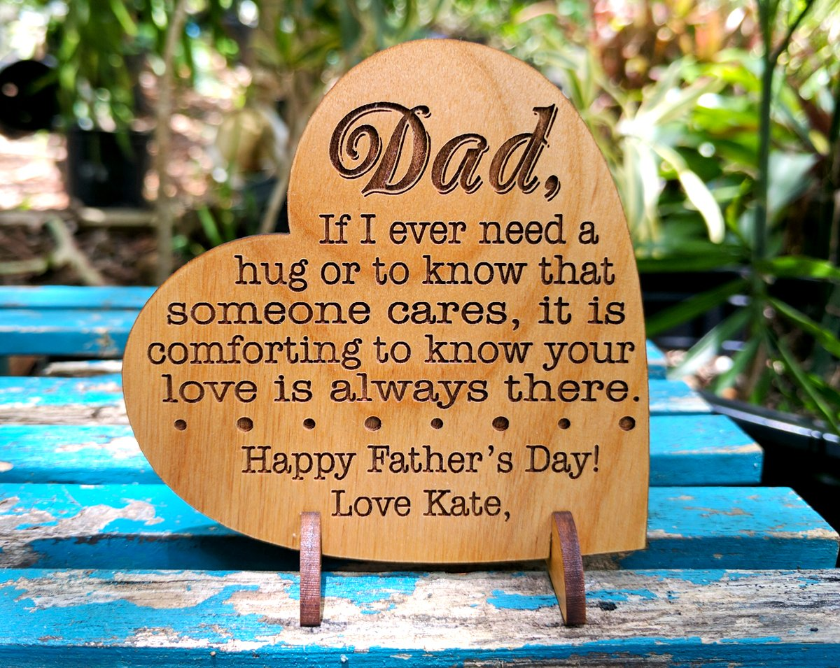 Custom Engraved Alder Wood Greeting Card for Dad Personalized Heart Shaped Fathers Day, Birthday, Chrismas, Thank You Unique Daddy Godfather Grandpa Dad Gift from Kids Wife for Him Comes with Stand by Greeting Card-by-StockingFactory (Image #7)