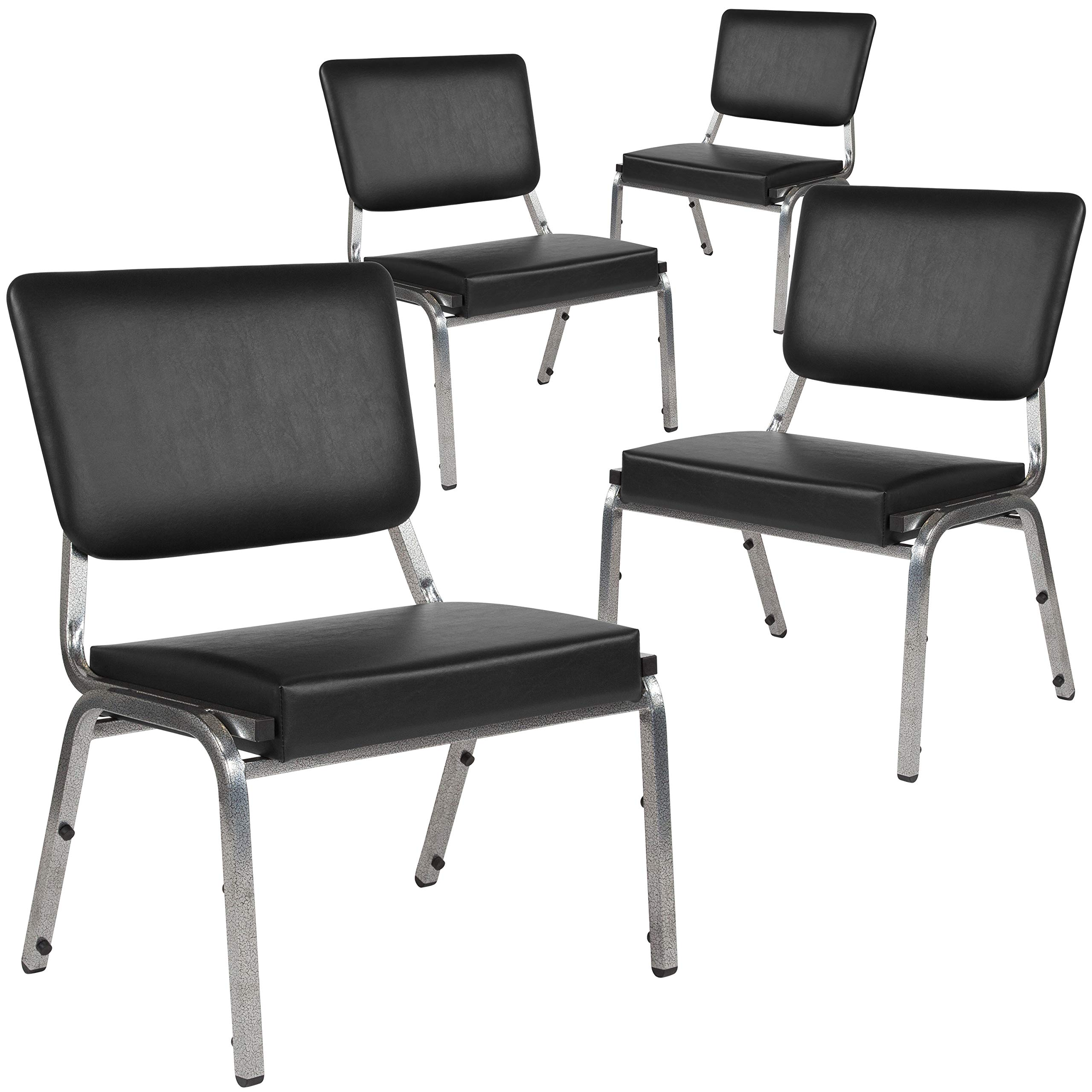 Flash Furniture 4-XU-DG-60442-660-2-BV-GG Bariatric Chairs, 4 Pack, Black Vinyl