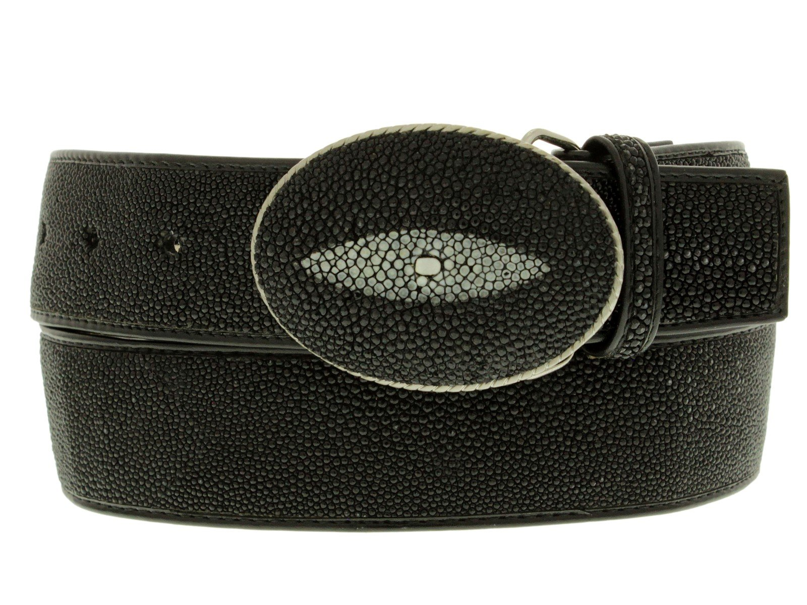 Cowboy Professional - Black Genuine Stingray Skin Single Stone Cowboy Belt Round 34