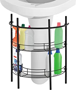 MyGift Under-the-Sink Bathroom Quality Pedestal Black Metal Storage Rack with 2 Shelves & Hand Towel Bar