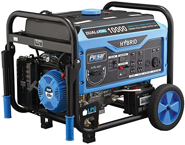Pulsar 10,000W Dual Fuel Portable Generator with Switch & Go Technology & Electric Start