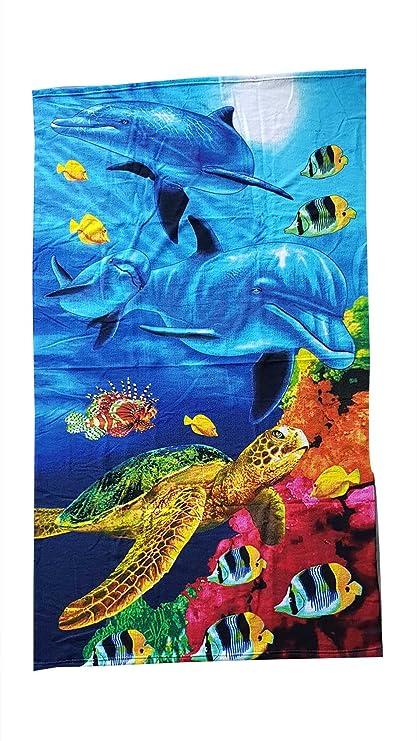 Toalla Playa de Rizo de microfibra estampado tamaño cm 92 x 165 Variante 2 Delfines y