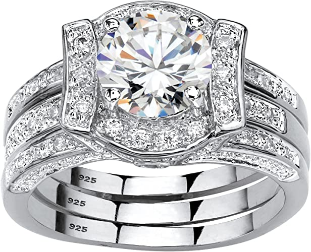 Sterling Silver Channel Set Round Cz Wedding Ring Set with Prong Set Cz in the Center