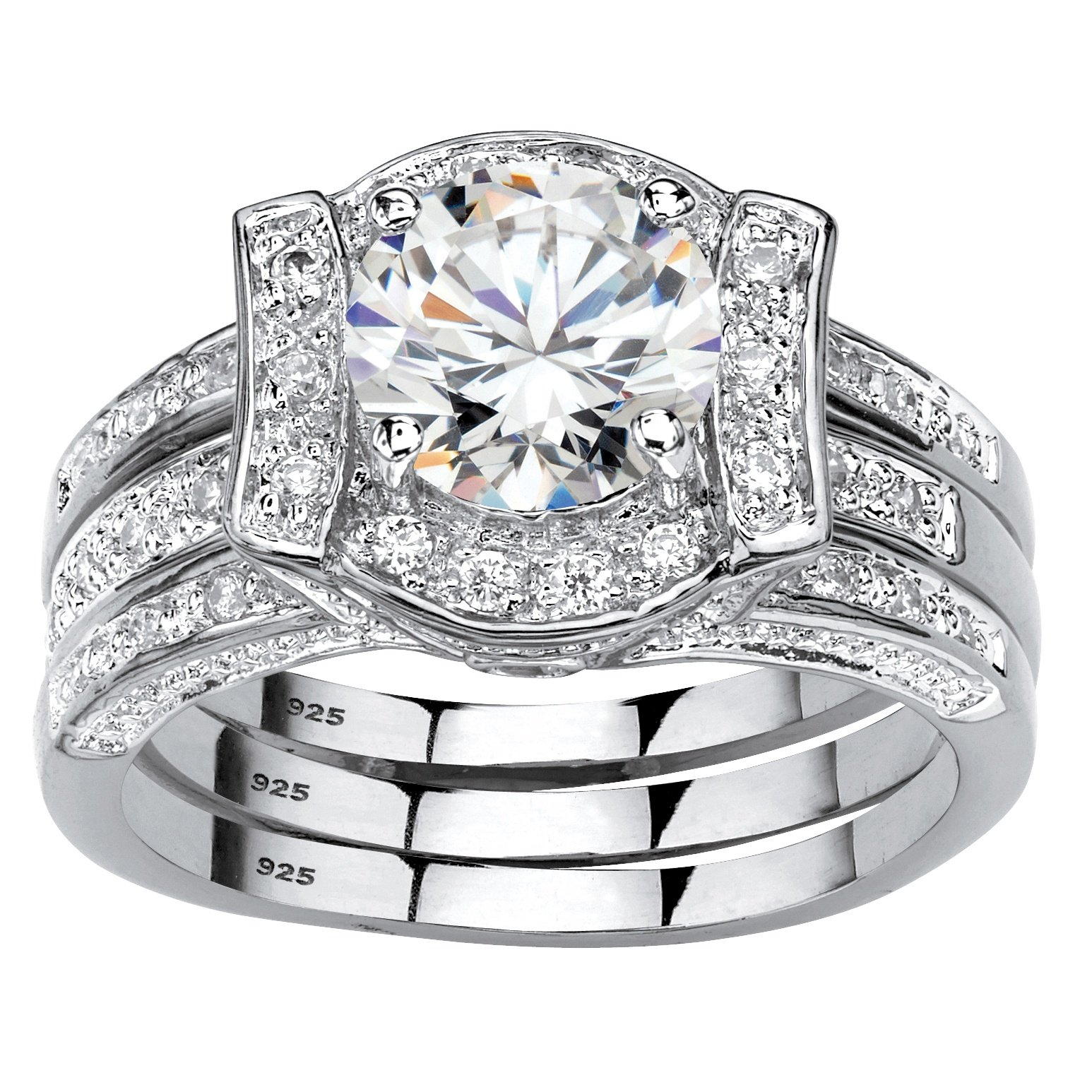 Platinum over Sterling Silver Round Cubic Zirconia Jacket Bridal Ring Set Size 6