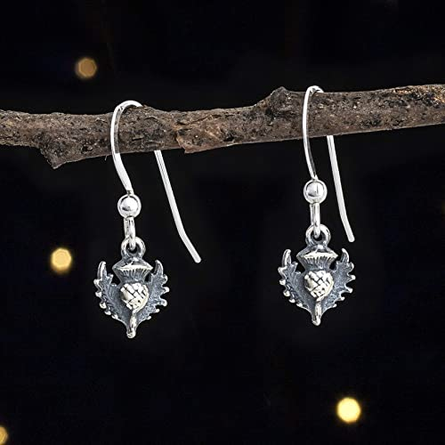 367ceb9c6 Image Unavailable. Image not available for. Color: Sterling Silver Teeny Tiny  Scottish Thistle Earrings ...