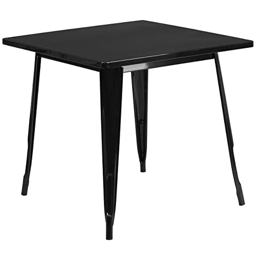 Flash Furniture 31.5 Square Black Metal Indoor-Outdoor Table