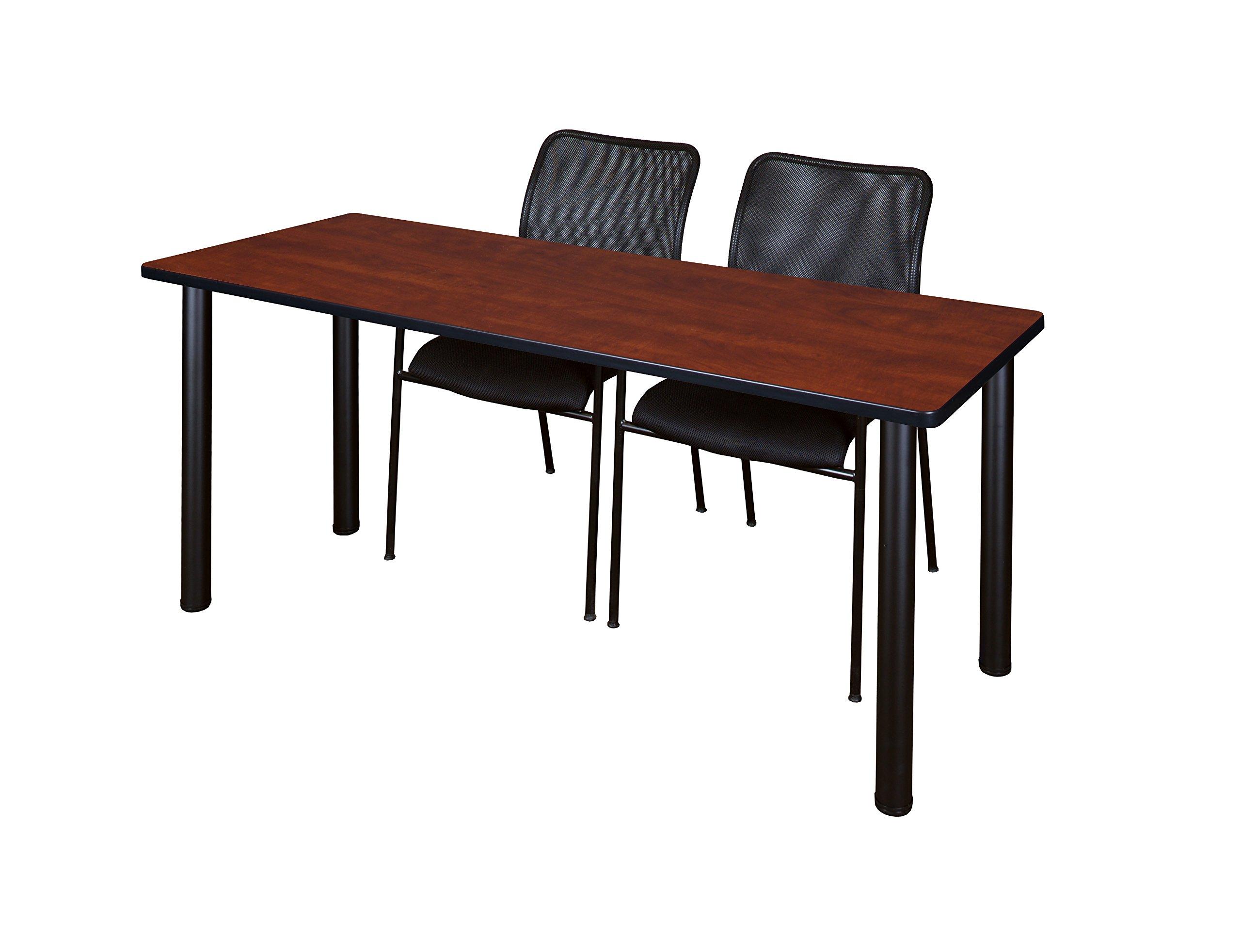 Regency MT7224CHBPBK75BK Kee Training Table Set with 2 Mario Chairs 72'' x 24'' Cherry/Black