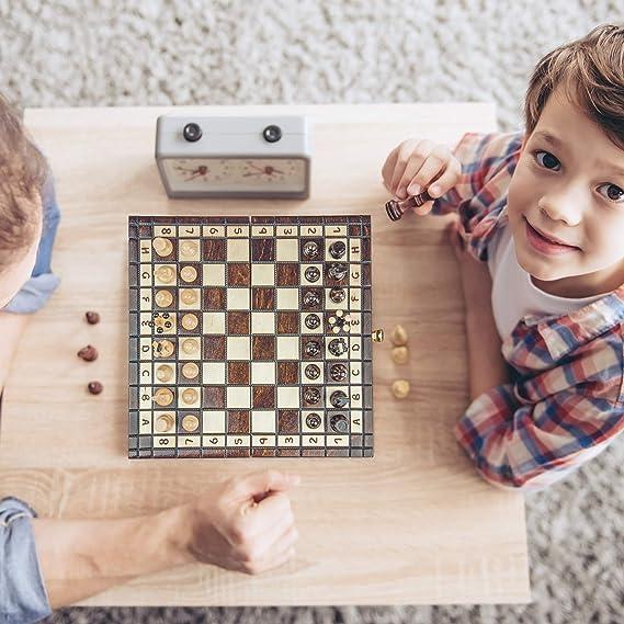 Casete de ajedrez Profesional con Figuras talladas a Mano. Piezas de ajedrez para ni/ños Tablero de ajedrez Noble de Madera 31 x 31 cm Amazinggirl Juego de ajedrez Hecho a Mano