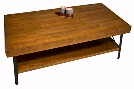 Genial Solid Wood Coffee And Cocktail Table   Solid Wood Top   Sturdy Metal Frame    Distressed