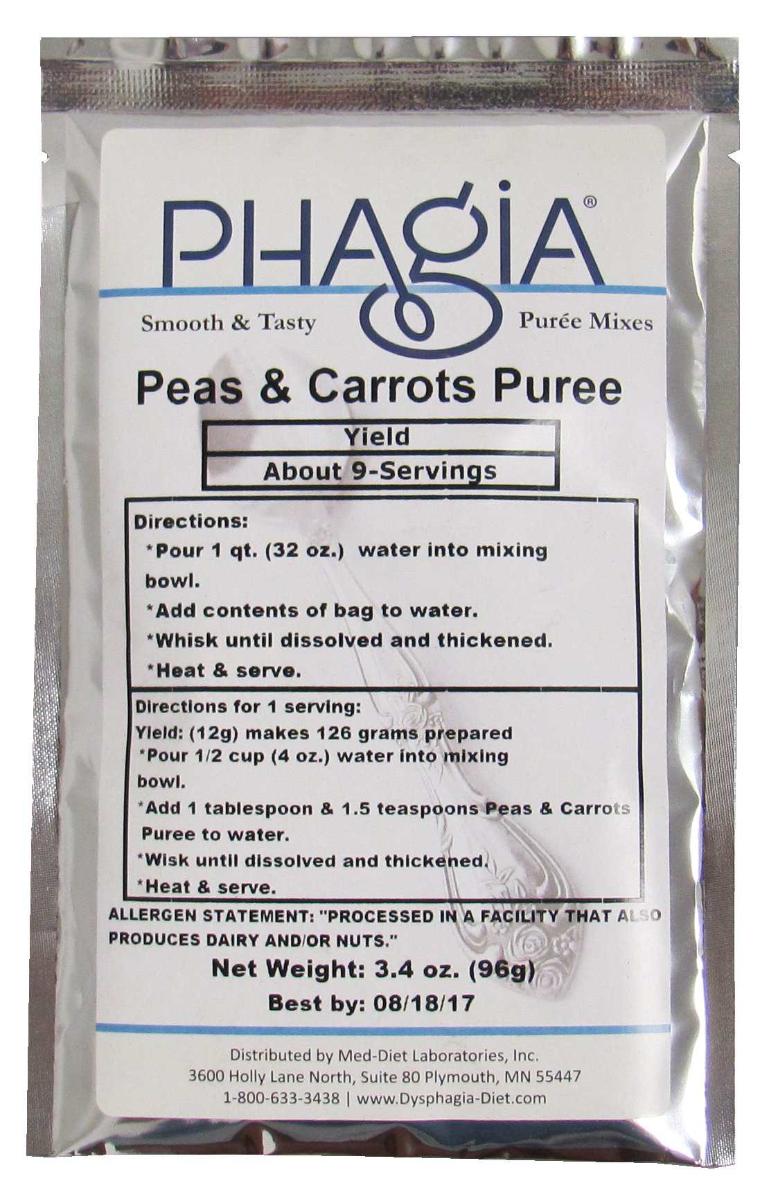 Phagia Pureed Peas & Carrot 6/3.4 oz. Bags