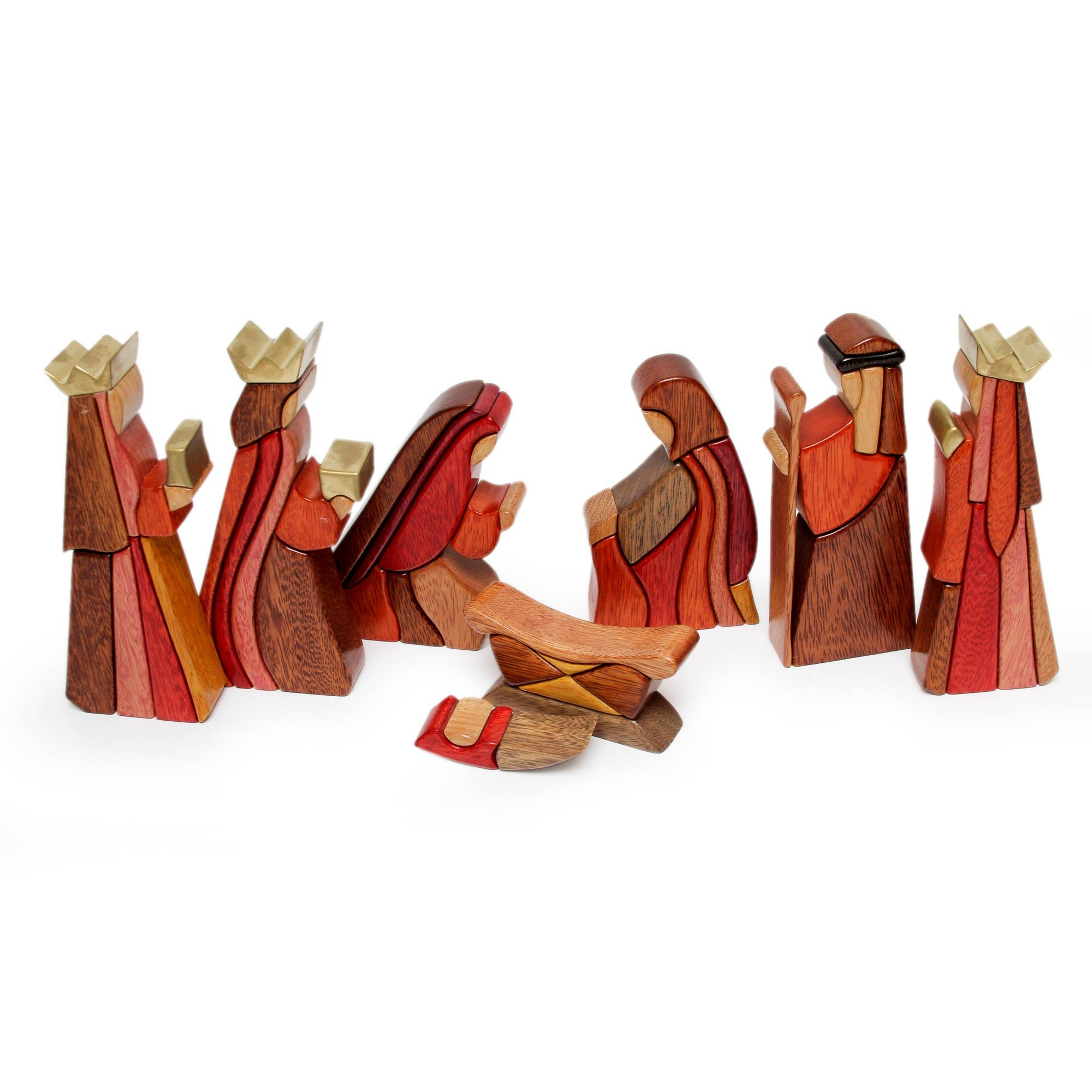 NOVICA Brown Religious Ishpingo Wood Sculpture,7''-0.8'' Tall 'Gifts For Baby Jesus' (set of 8)