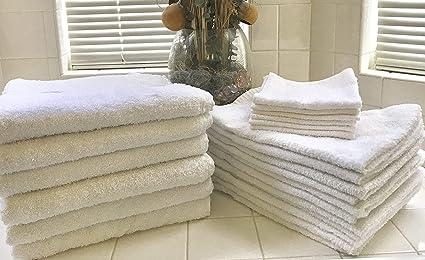 12 paquete blanco 24 x 48 economía toallas de baño