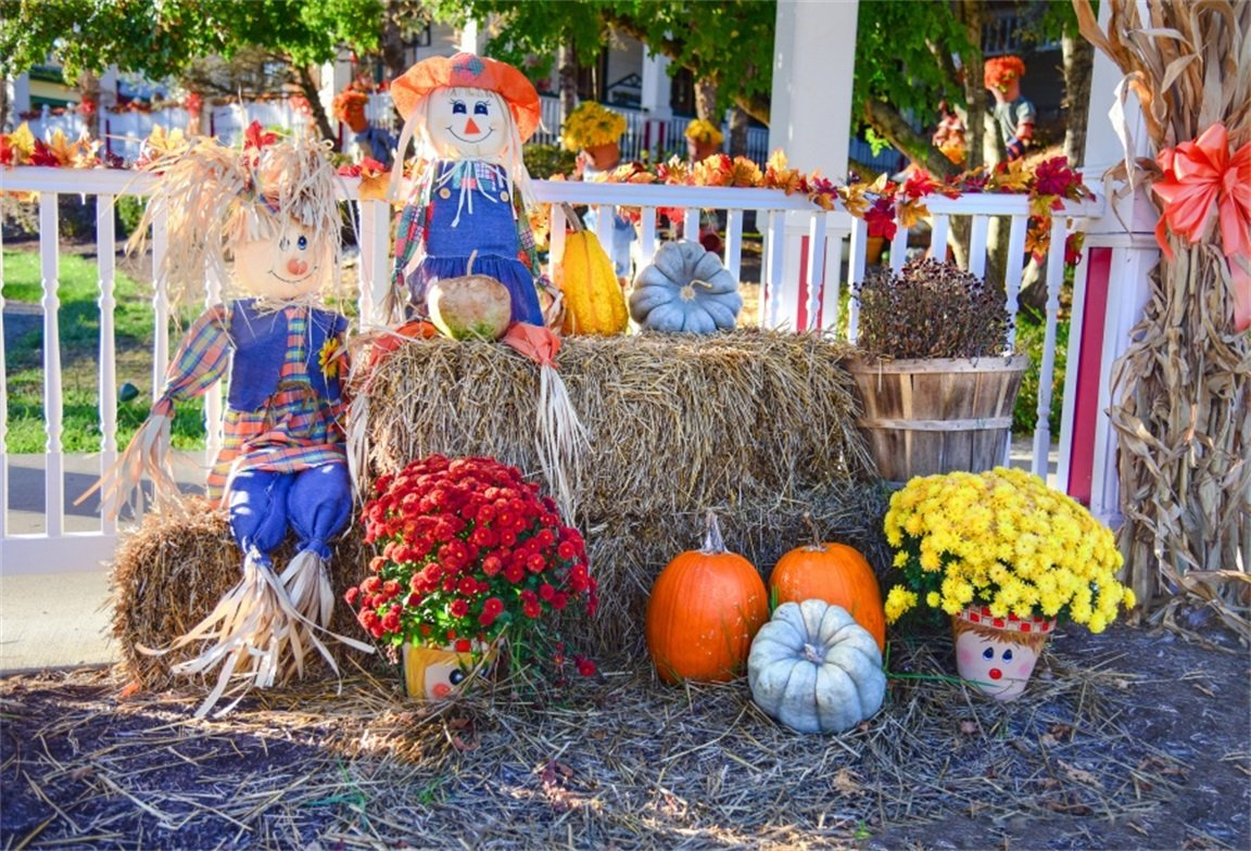 AOFOTO 7x5ft Autumn Harvest Barn Background Pumpkins Scarecrows Straw Haystack Photography Backdrop Fall Countryside Farm Flower Halloween Thanksgiving Kid Child Artistic Portrait Photo Studio Props