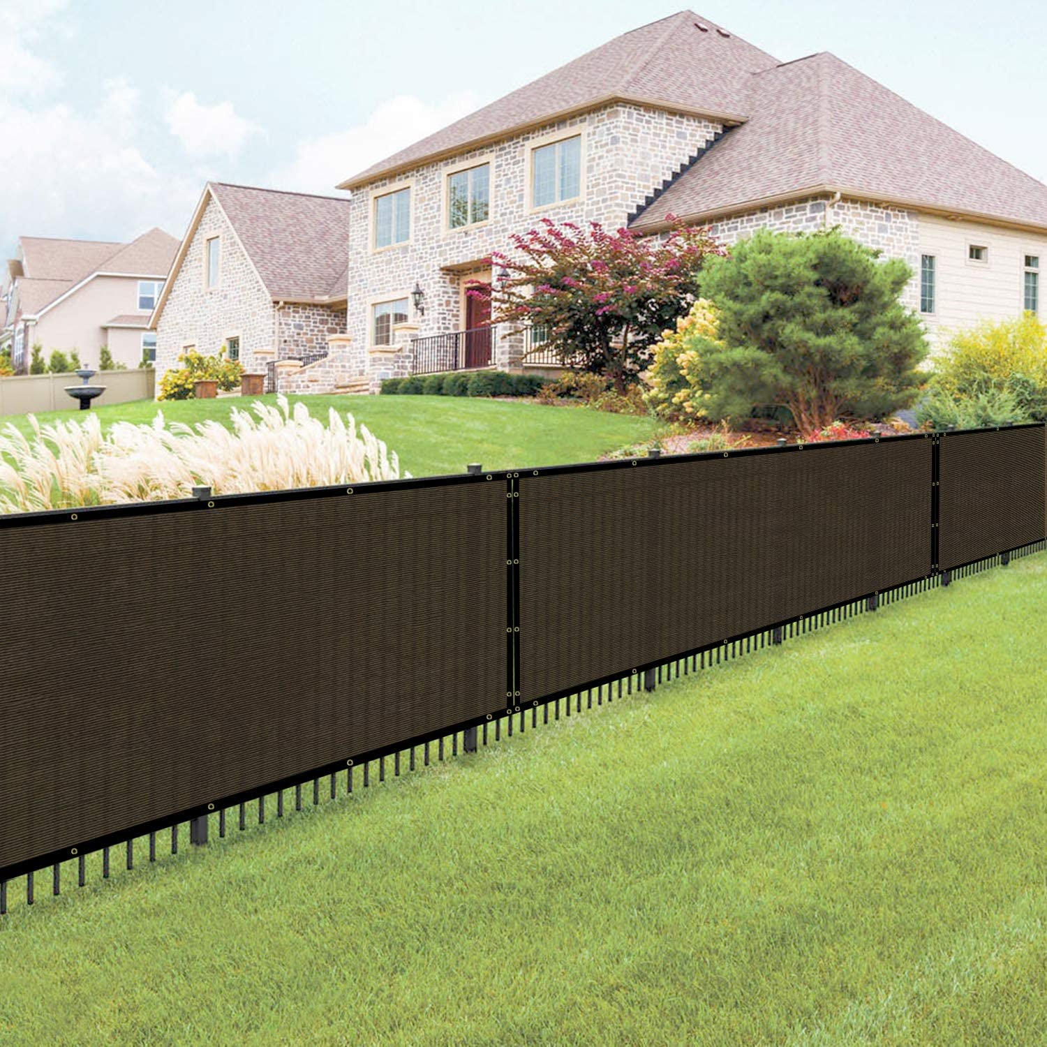 Beige 8 x 1 Commercial Outdoor Backyard Porch Deck Shade Windscreen Mesh Fabric 90/% Beockage 8 Years Warranty E/&K Sunrise Fence Privacy Screen with Zipties Customized