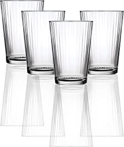 Circleware Hill Street Juice Drinking Glasses, 4 piece Set, Heavy Base Tumbler Beverage Ice Tea Cups, Home & Kitchen Entertainment Glassware for Water, Milk, Beer, Whiskey Bar Decor, 7 oz, Clear