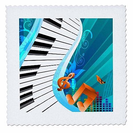 Anne Marie Baugh – un teclado musical en un fondo azul abstracto ondulado de música con