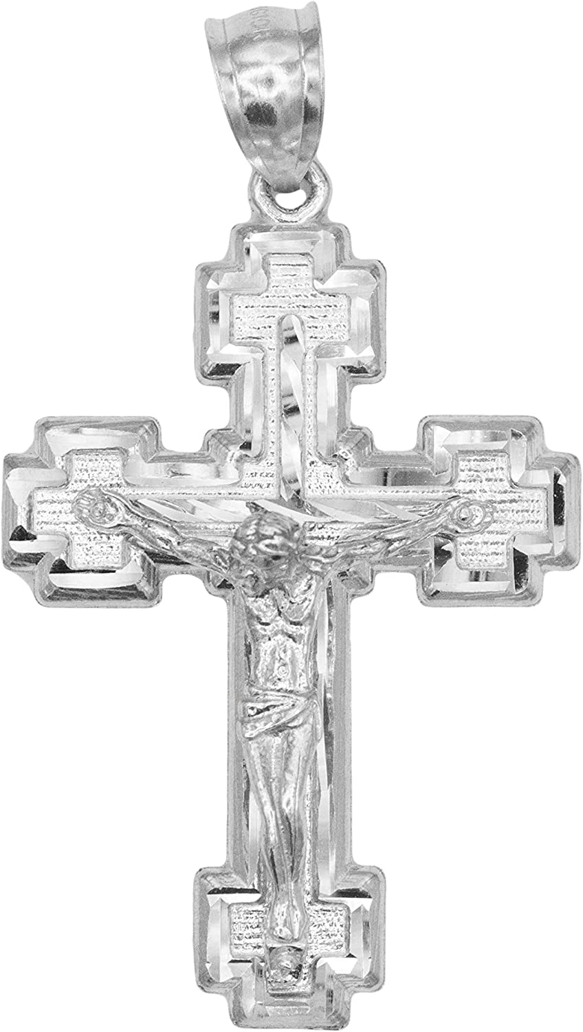 Ice on Fire Jewelry 14k Solid Gold Large Crucifix Pendant