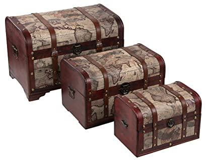 Delicieux Juvale Wooden Chest Trunk, 3 Piece Storage Trunk And Chests | Map Pattern