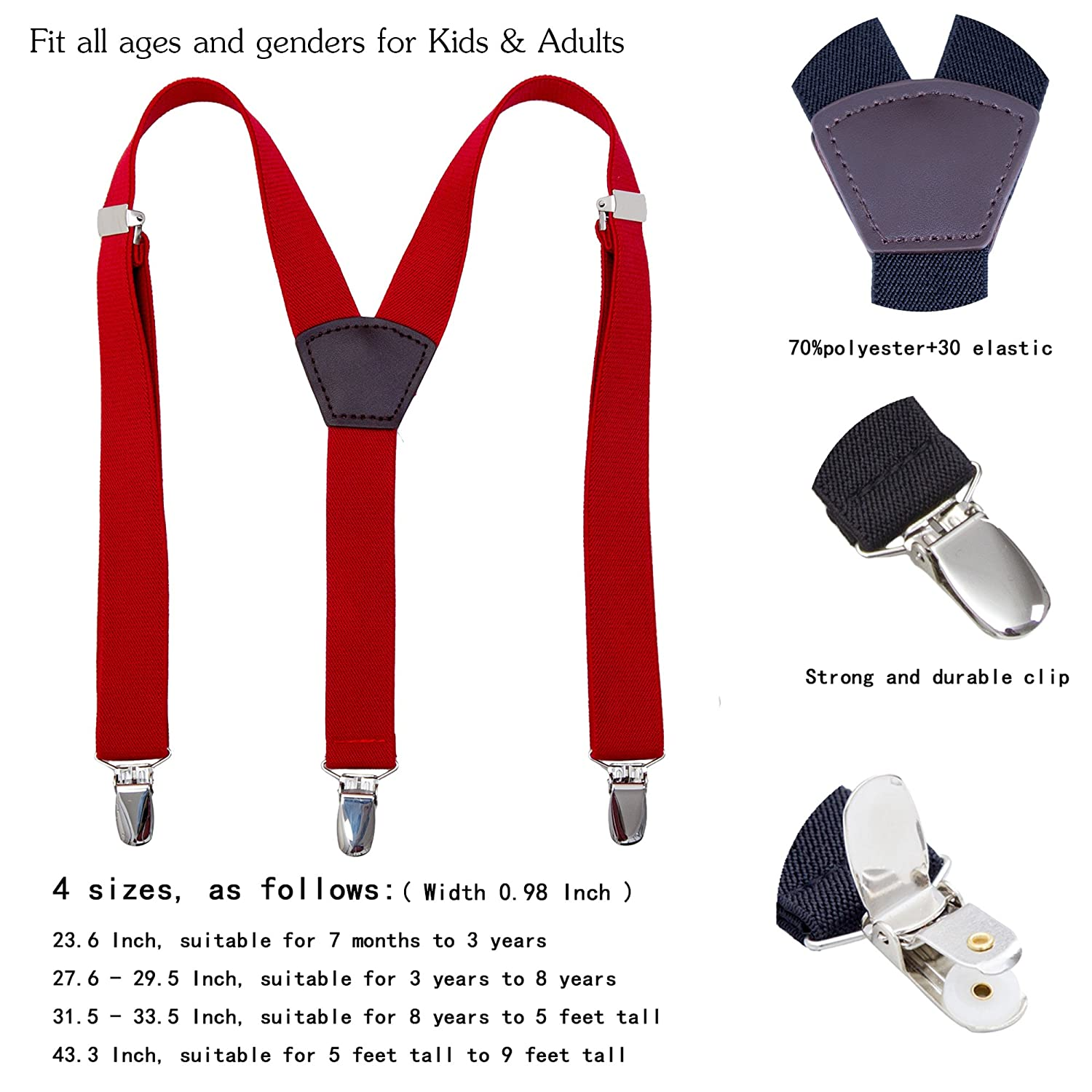 Y Back Stretchy Straps Strong Clip Leather Braces Suspenders Black, 23.6 Inch Toddlers Kids Boy/'s Men/'s Suspenders 7 Months - 3 Years