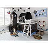 Noa and Nani - Midsleeper Cabin Bed with Pirate Hideaway Tent, Tower, Tunnel and Bed Tidy - (White)