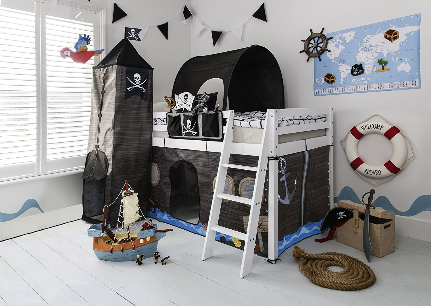 Cabin Bed Midsleeper Kids Pirate Hideaway with Tent, Tunnel, Tower & Tidy Noa & Nani (White) Noa and Nani