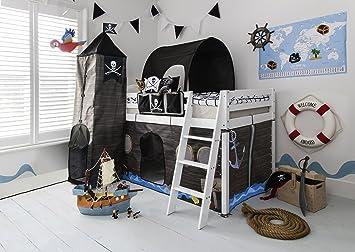 Lit superposé pour enfant avec cachette de pirate, tente, tunnel ...