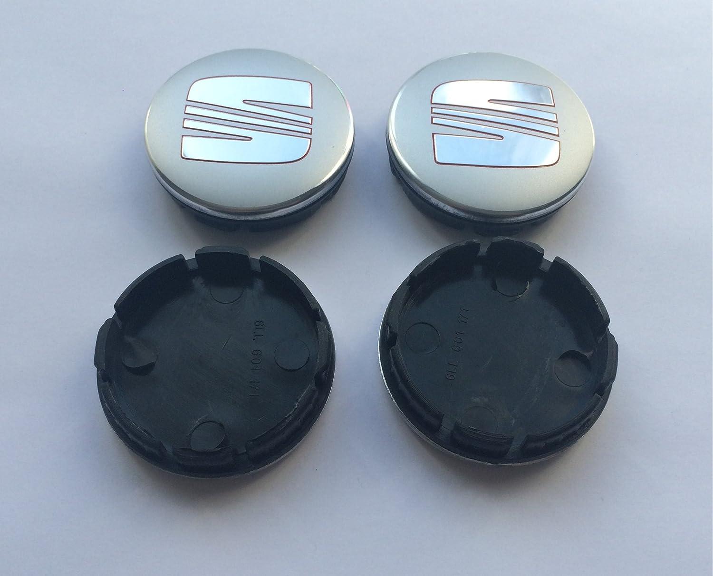 st oem 6LL601171 Set Of 4 Wheel Badges Center Hub Caps 55Mm Silver Chrome Red