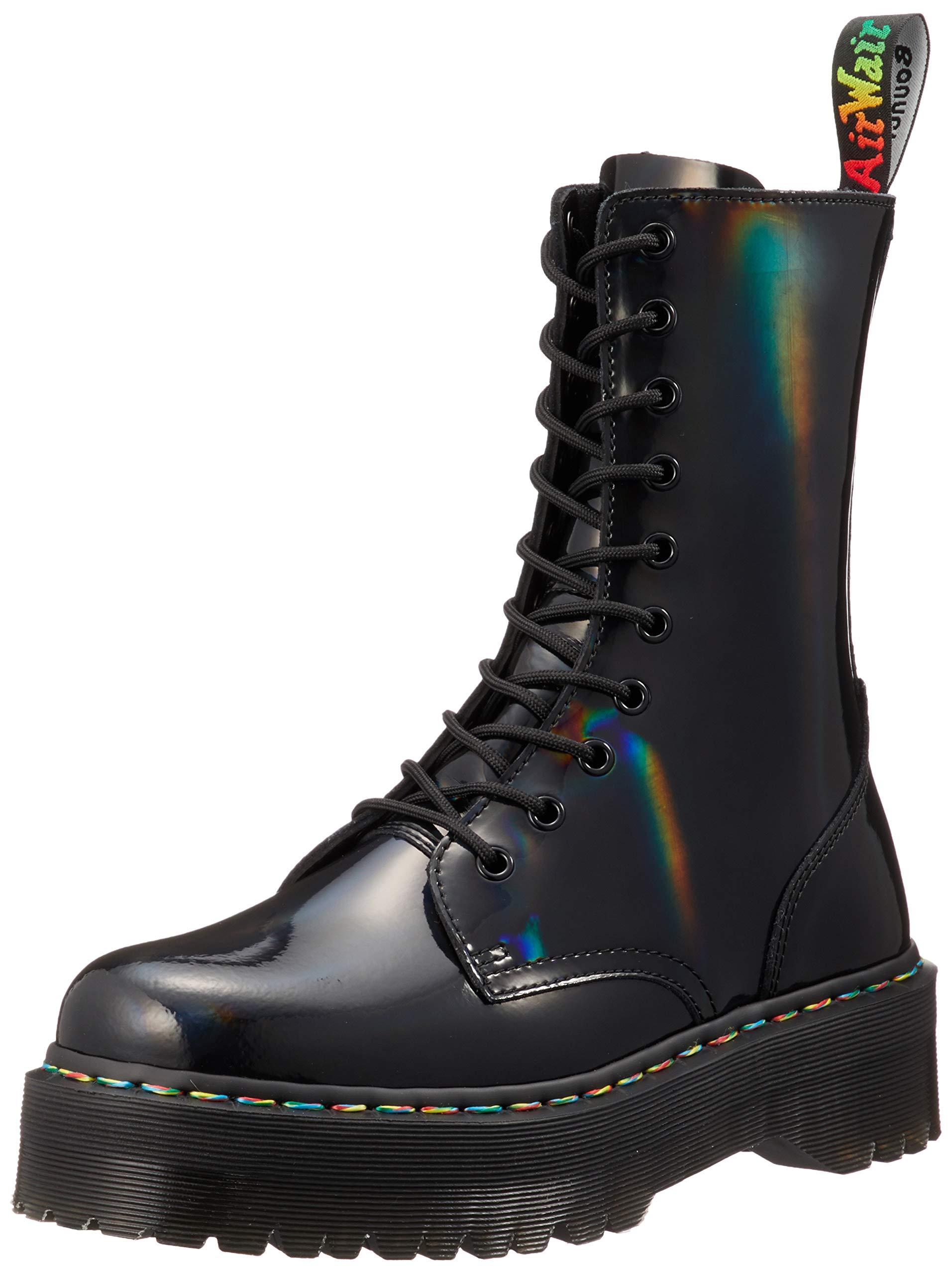 Dr. Martens Women's Jadon 10 Eye Boots, Black Rainbow, 7 M US by Dr. Martens