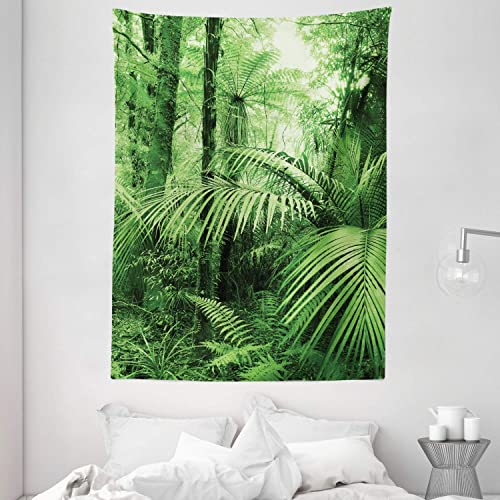 Ambesonne Rainforest Tapestry, Palm Trees and Exotic Plants in Tropical Jungle Wild Nature Theme Illustration, Wall Hanging for Bedroom Living Room Dorm, 60 X 80 , Green