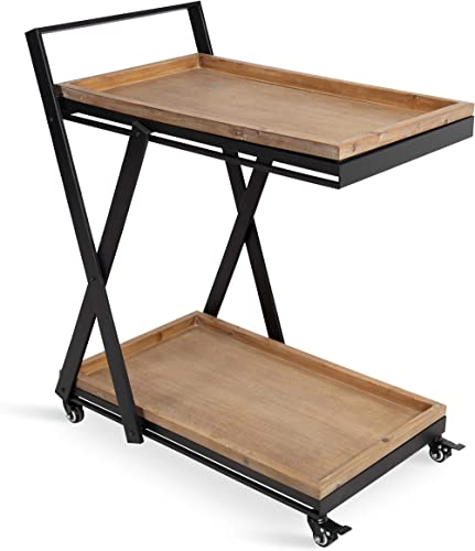 Kate and Laurel Lockridge Industrial Modern Farmhouse Black Metal, Foldable Rolling Bar Cart with Removable Upper and Bottom Trays, Light Rustic Brown and Black
