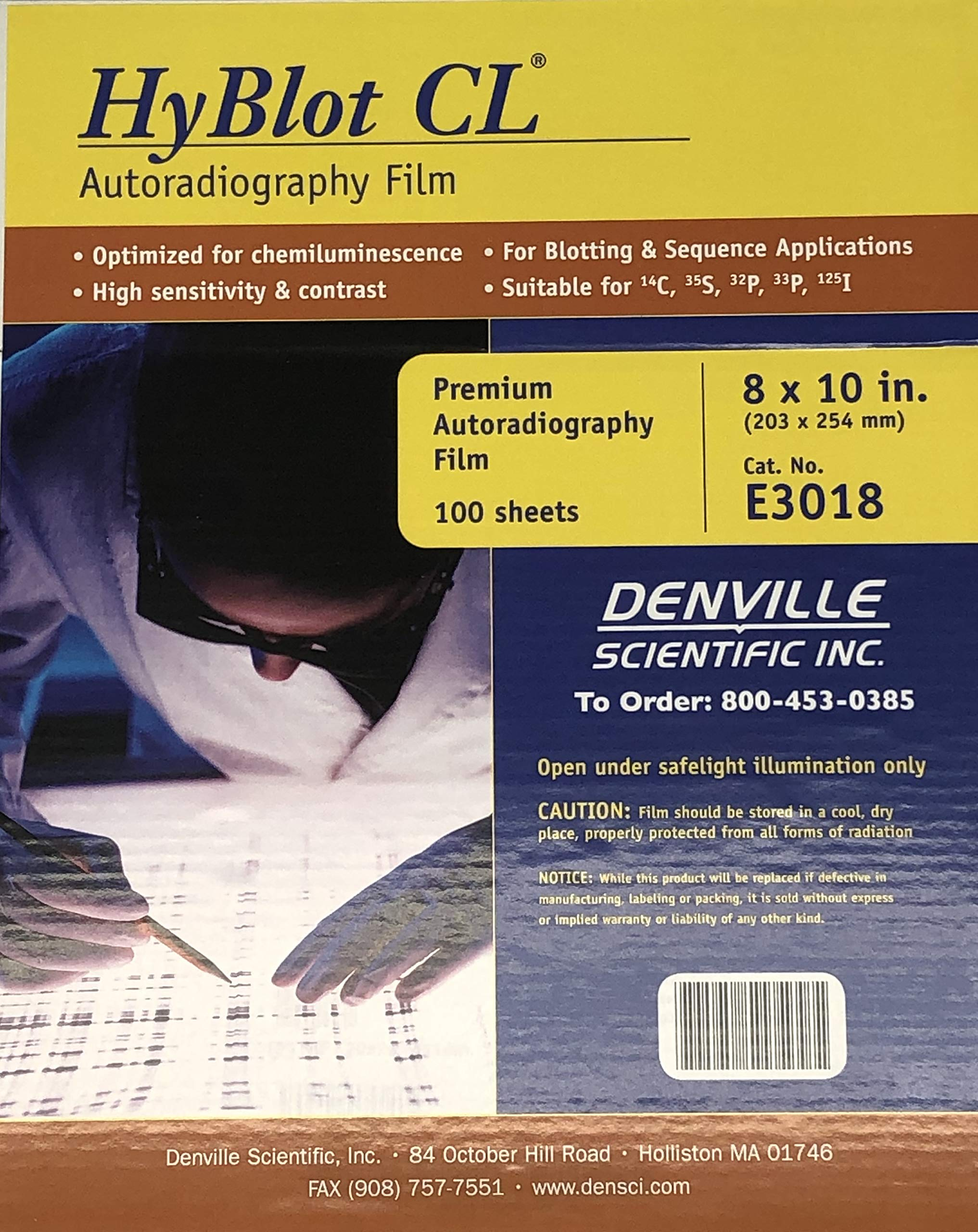 Denville Scientific E3018 HyBlot CL Autoradiography Film, 8'' Width, 10'' Length (Pack of 100) by Denville Scientific