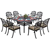 Darlee Elisabeth Cast Aluminum 9-Piece Dining Set with Seat Cushions and 64-Inch Square Dining Table, Antique Bronze Finish