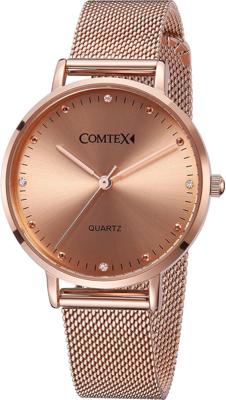 Comtex Relojes Mujer Oro Rosa Pulsera de Acero Inoxidable Diamante Cuarzo Analógico Relojes de Pulsera Resistente al Agua