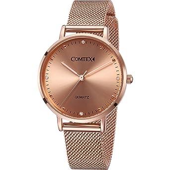 cc7812c5a694ee Comtex Montre Femme Or Rose avec Acier Inoxydable Bracelet Quartz  Analogique Diamant Élégant Résistant à L