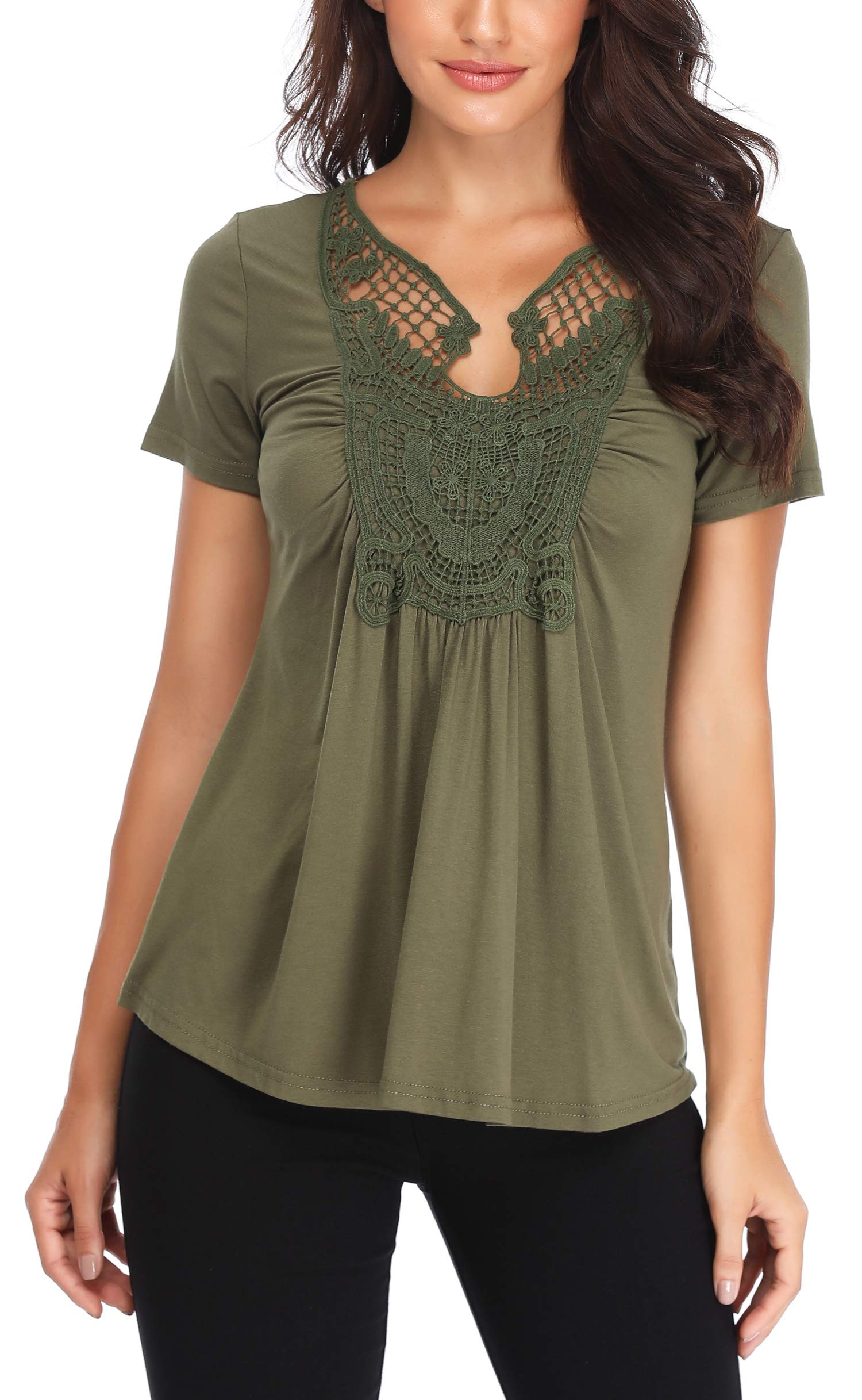 MISS MOLY Women's Short Sleeves Lace Front Ruffle Tops Sexy Peplum Blouse Tee Shirts Army Green L