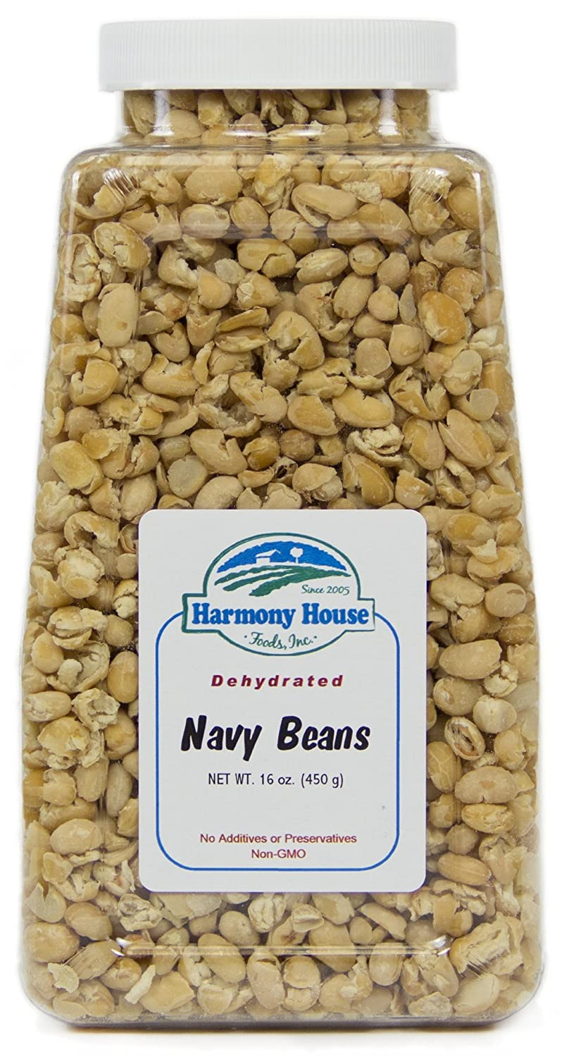 Harmony House Foods TRUE Dehydrated Navy Beans -- Easy Cook (16 oz, Quart Size Jar)