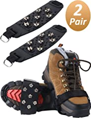 SATINIOR 2 Pairs Traction Cleats Anti-Skid Ice Snow Grips 7 Point Cleats for Boot