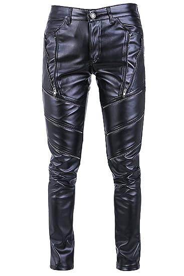5fd48e34 Idopy Men`s Hip Hop Hipster Black Faux Leather Pants: Amazon.co.uk: Clothing