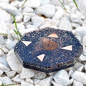 Black Tourmaline Orgone Octagon Vastu Plate for Wealth Health Positive Energy Home Décor Reiki Healing Crystal, Symbol Spiritual Natural Gemstone Energy GENERATOR Vastu Charging Plate, Orgonite,Copper
