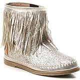 HERIXO Damen Schuhe Stiefel Schlupfstiefel Gold Silber Fransen Mokassin  Ibiza Indianer Western-Style Boho Stiefeletten 828a620a35