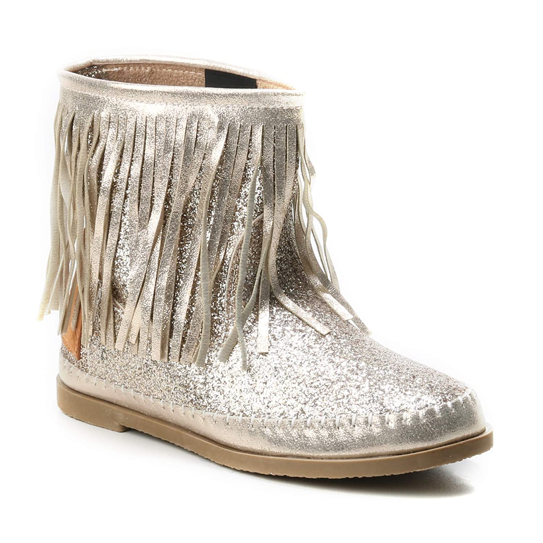 HERIXO Damen Schuhe Stiefel Schlupfstiefel Gold Silber