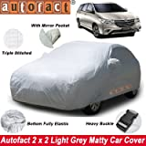 Autofact Car Body Cover with Mirror Pockets Compatible for Toyota Innova (2000 to 2016) (Triple Stitched, Bottom Fully Elastic, Light Grey 2 X 2 Matty)