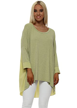 948253a05f2 A Postcard From Brighton Shirty Golden Lime Melange Contrast Tail Back Tunic  Top S/M Lime: Amazon.co.uk: Clothing