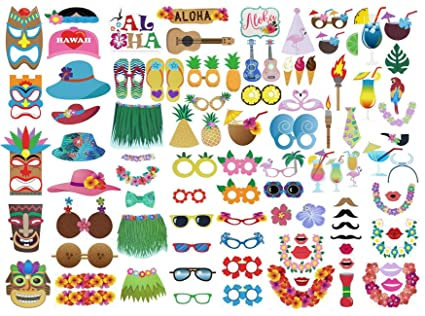 3825f32f985a Etryo 96Pcs Large Luau Photo Booth Props - Decoration Supplies for Hawaiian  Luau Beach Tropical Summer
