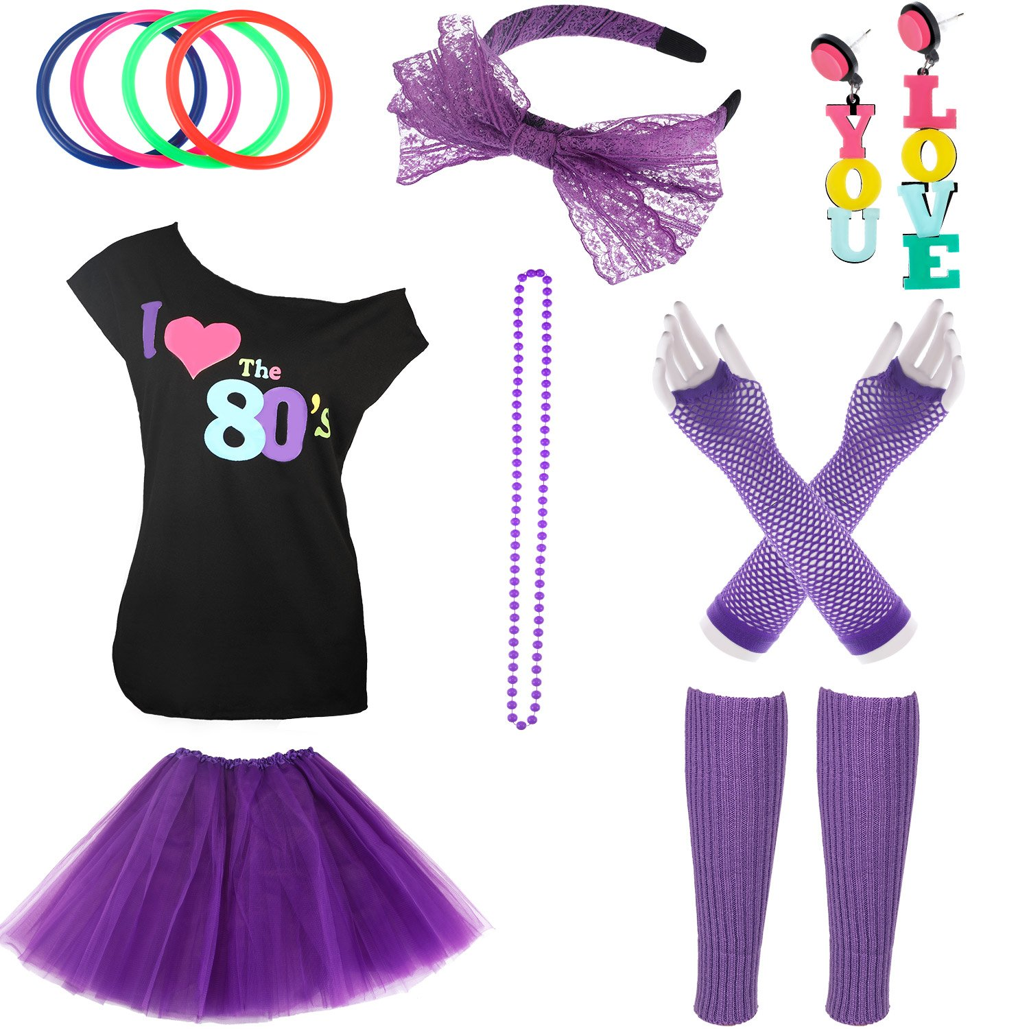 Jetec 80s Costume Accessories Set Necklace Bangle Leg Warmers Earrings Gloves Tutu Skirt T-Shirt for Party Accessory (L, Set 2)