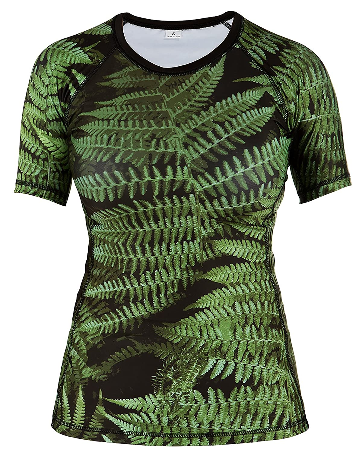 Rule Out Short Sleeve Rash Guard Top. Damen. Gym. Taining. Sportswear. Running. Cycling. Forest. Fern leaves. Motivation. Women Colection. Kompression T-shirt. MMA Fightwear